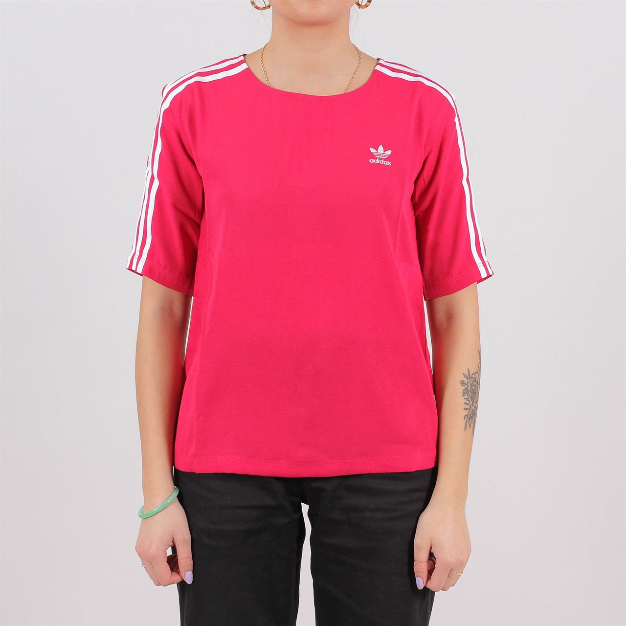 Shelta - Adidas Originals Womens 3 Stripes Tee Pink (DV0853)