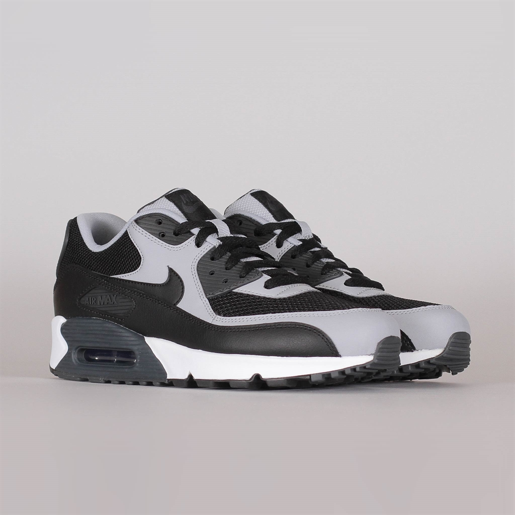 Details about Nike Air Max 90 Essential Black White Wolf Grey Mens Running Shoes 537384 053