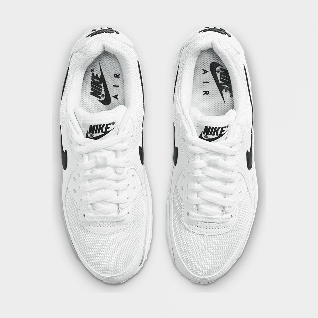 NIKE AIR MAX 90 WOMENS WHITE /& BLACK TICK TRAINERS CQ2560-101 UK2-10 EUR 35-45