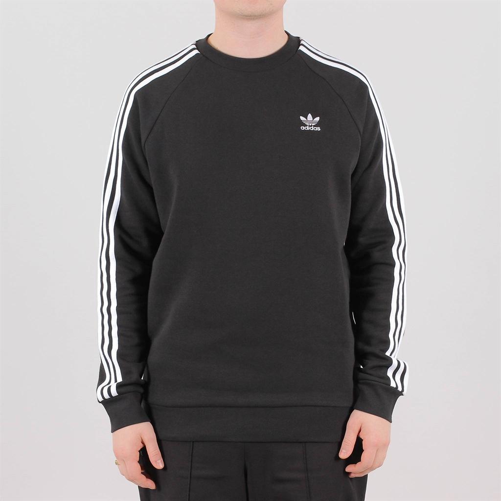adidas Originals 3 Stripes Crew Herren Sweatshirt Black