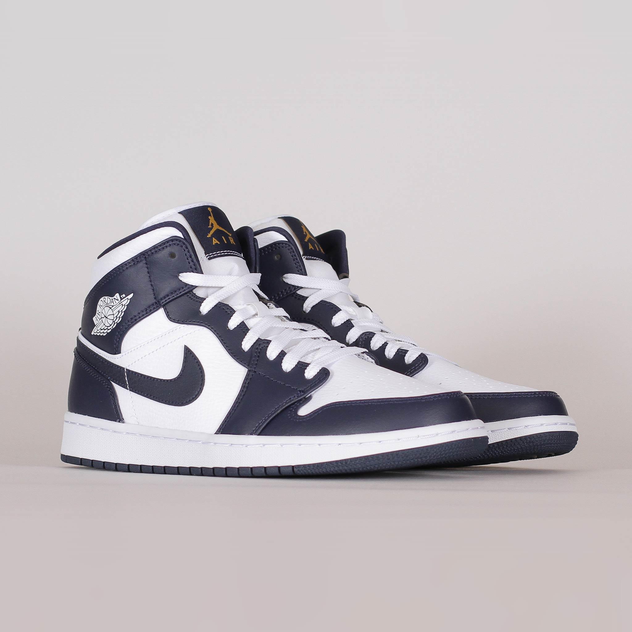 Herr Nike Air Jordan 1 Logo SvartMetallic Guld Sneakers Air